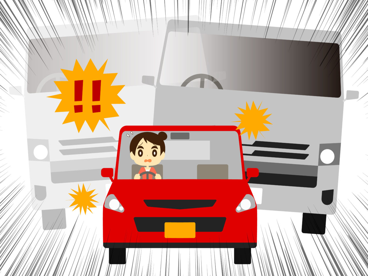 突風を受けるミニカーを運転する女性