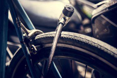 自転車の車輪の金属ロック