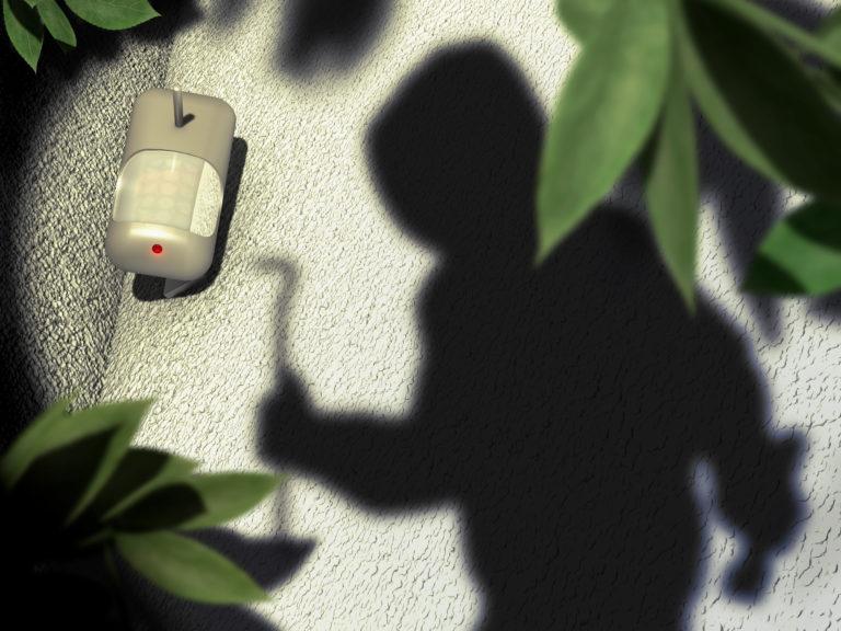 モーション検出器と庭シナリオでは、3 d の図強盗の影