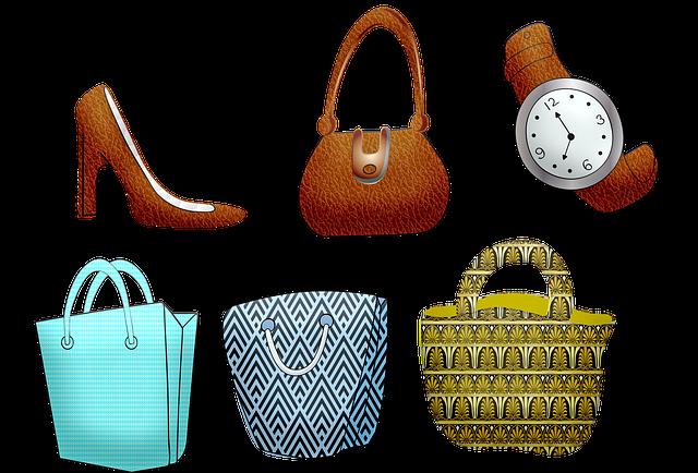 買い物バッグ, 財布, ハイヒール