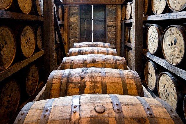 distillery barrels, wooden kegs, bourbon