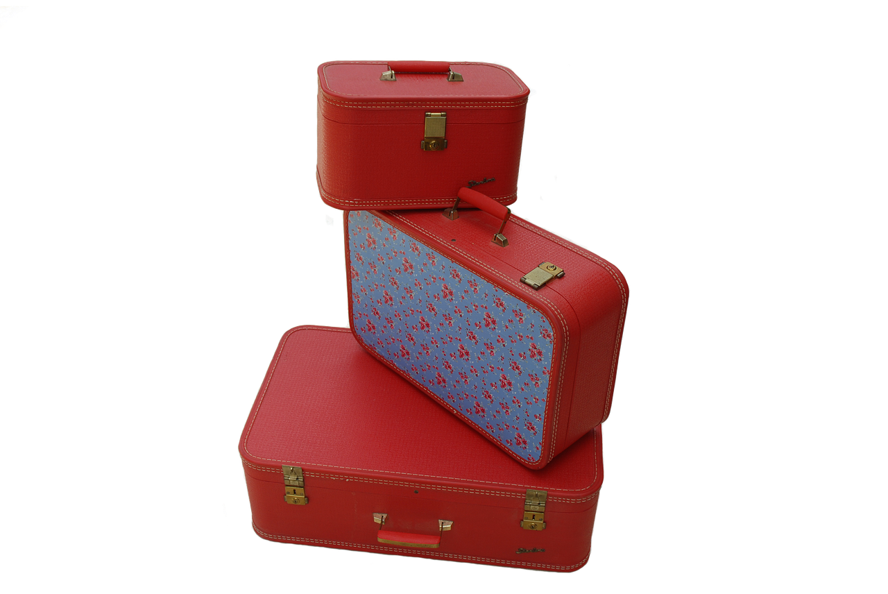 vintage luggage, retro luggage, red luggage