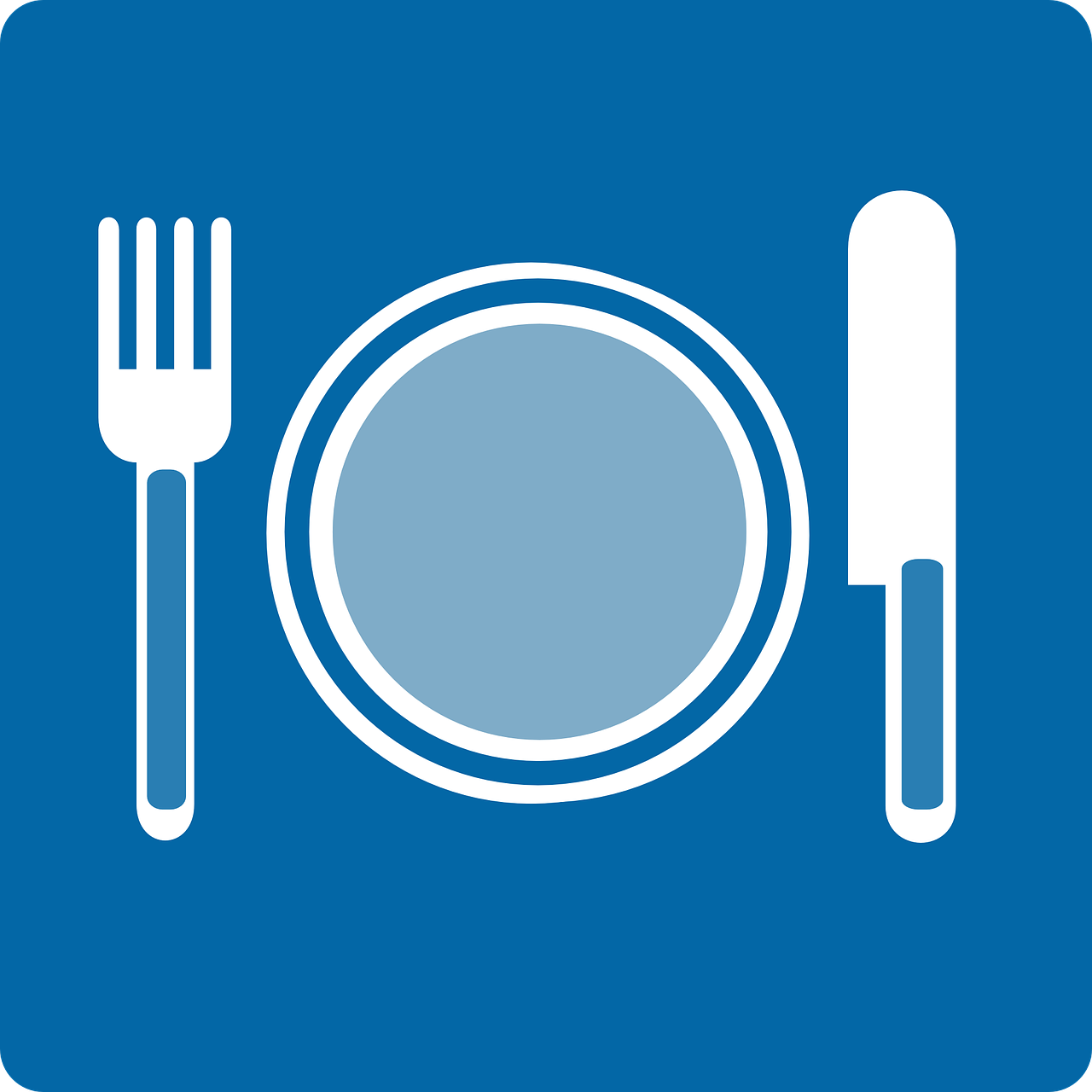 dishes, plate, fork