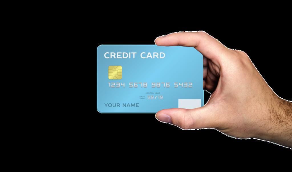 クレジットカードを手に