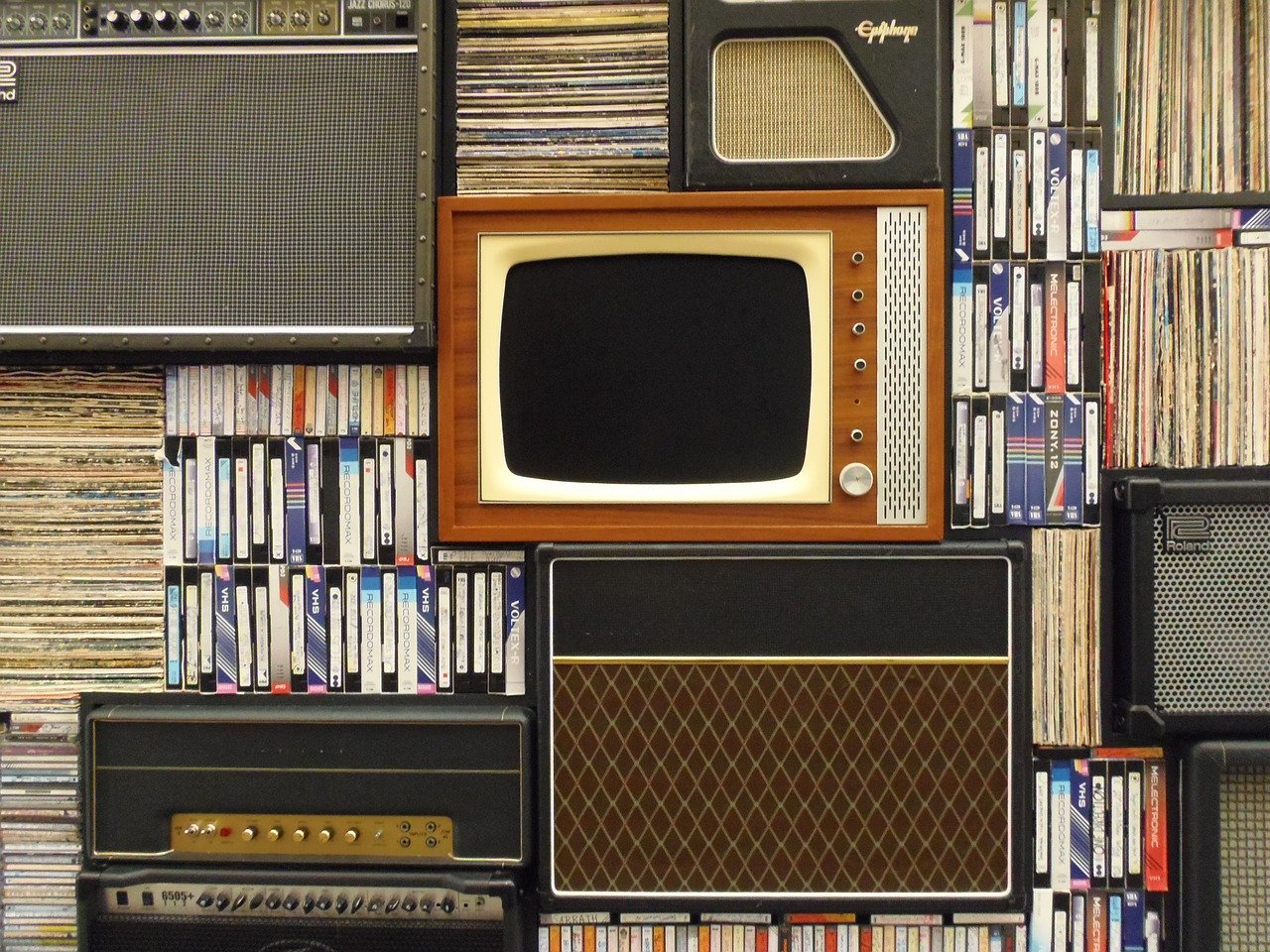 old tv, records, vhs tapes