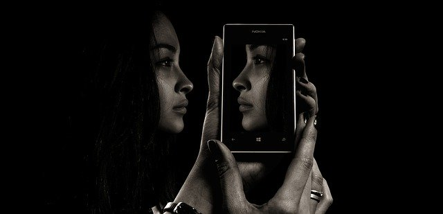 smartphone, face, woman
