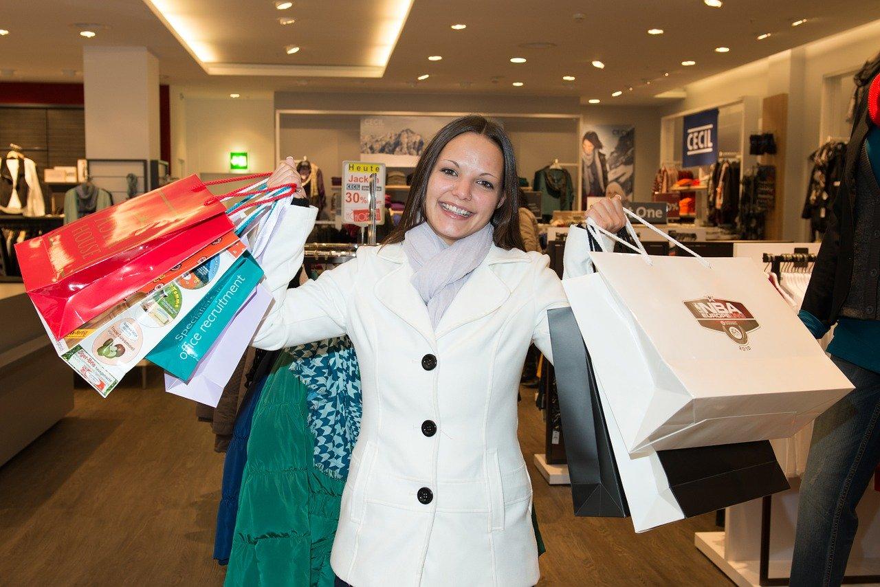 woman, shopping, happy