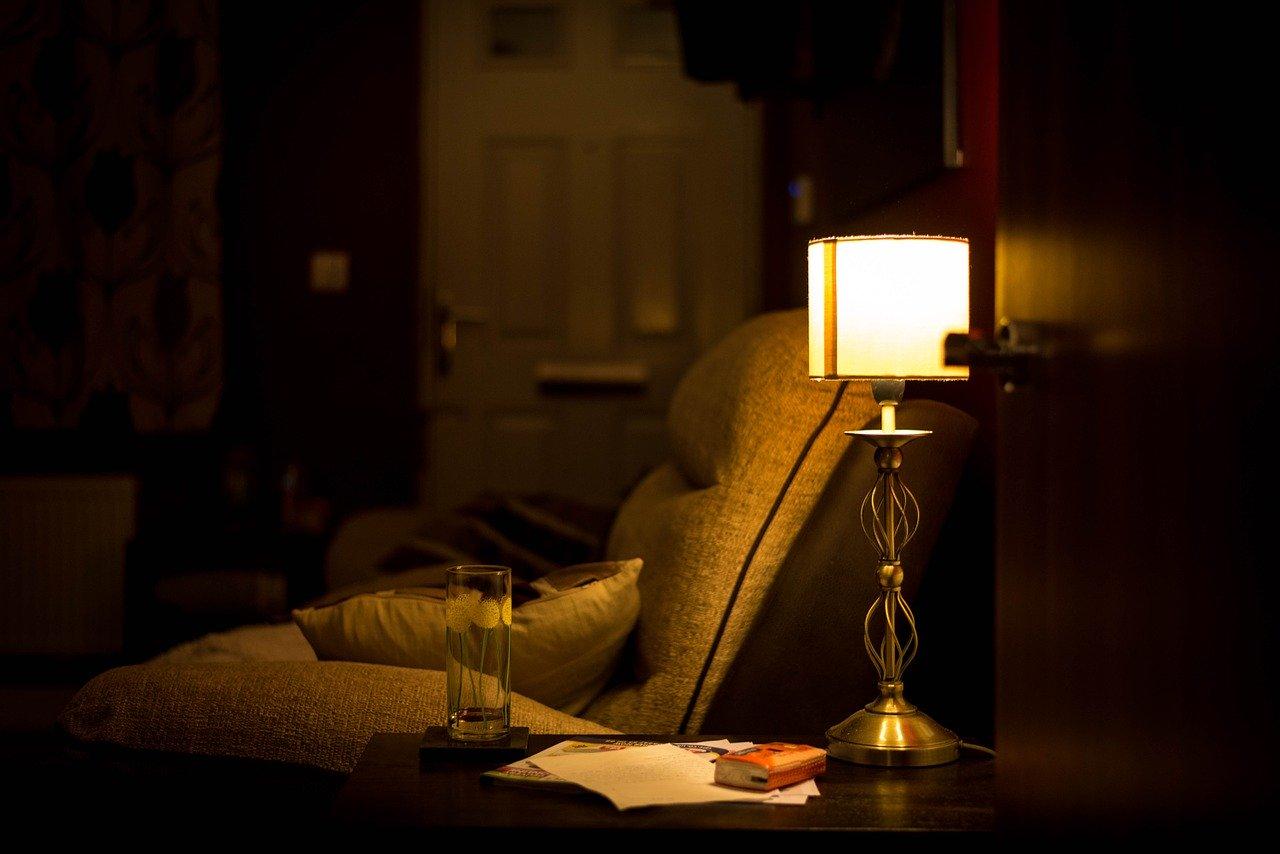 room, armchair, lamp